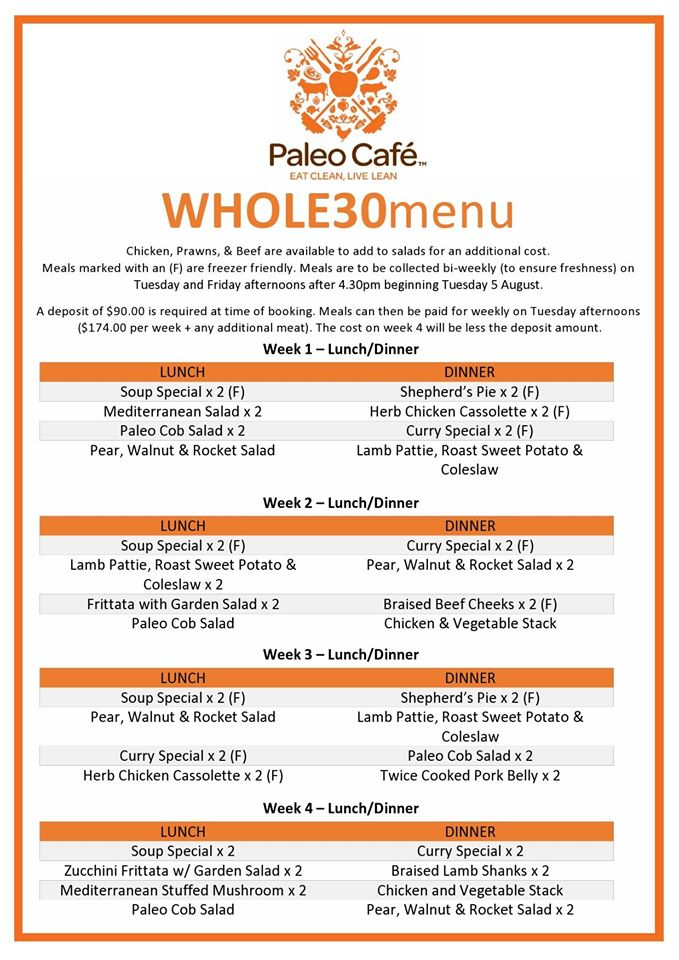Paleo Cafe Whole 30 Crossfit Townsville
